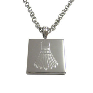 Silver Toned Etched Badminton Shuttlecocks Necklac